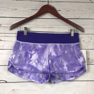 Lululemon Speed Shorts - Spray Dye Purple, Size 4